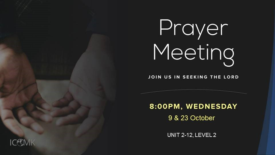 October Prayer Meetings – 9 & 23 October