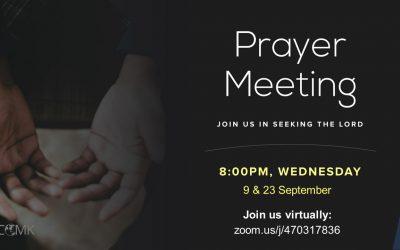 September Prayer Meetings – 9th & 23rd Sept, via Zoom