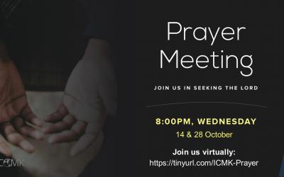 Prayer Meetings – 14 and 28 Oct at 8pm, via Zoom