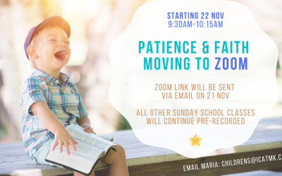 Children's Ministry – Patience and Faith Classes on Zoom, Sundays at 9:30am