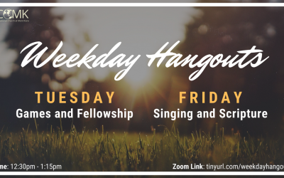 Weekday Hangouts – Tuesday and Friday at 12:30pm, via Zoom