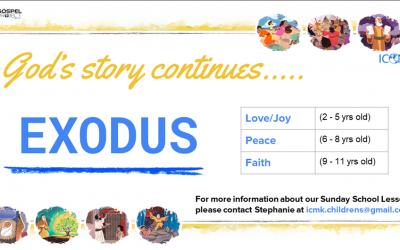 Children's Sunday School – Exodus series starting 5th Sep