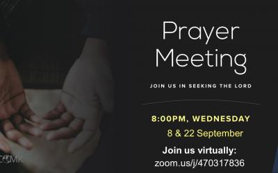 Prayer Meetings – 8 & 22 Sept at 8pm, via Zoom